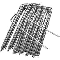 ZIONYA Garden Pegs Galvanized Steel 6 Inch 50 PCS, for Weed Control Membrane/Netting Fence/Artificial Grass/Tent Stakes Landscape Fabric Staples Sod Ground Staple