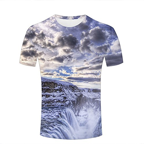 Mens T-Shirts 3D Printed Artistic Mist Canyon Graphic Couple Tees B