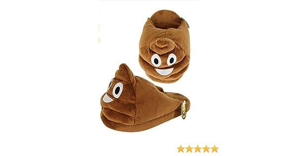 Slippers Emoji Medium Adult Kids Characters Non Slip Warm Yellow Brown Polyester