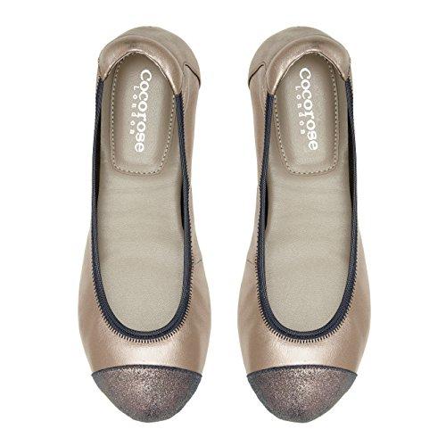 Cocorose Scarpe Pieghevoli - Harrow Ballerine Donna Pelle Peltro & Blu