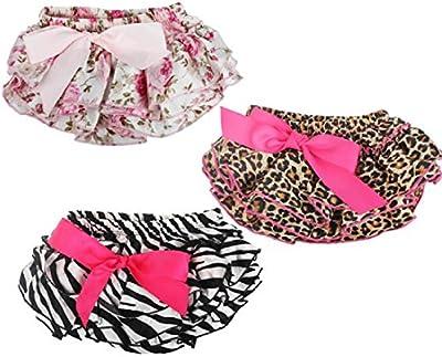 Tongshi Capas de bebé Bloomers de la colmena cortocircuitos de la flor de satén Faldas Pantalones para niños pequeños