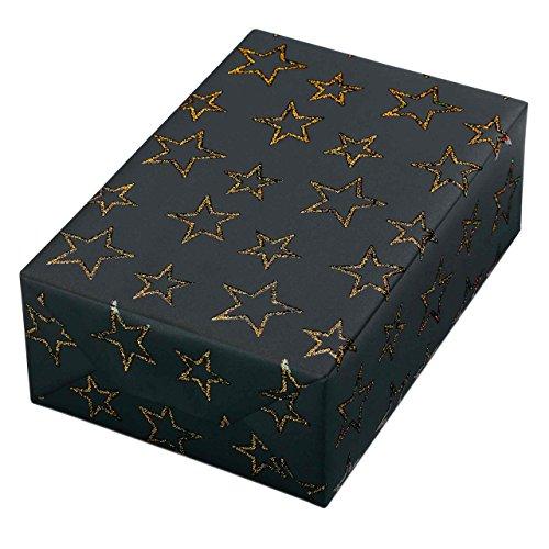 Geschenkpapier Rolle 50 cm x 50 m, Motiv Las Vegas, Goldene Sterne mit Hologramm Reliefglitter glitzern auf einem mattschwarzen Fond. Für Weihnachten, Glitzer edel. Weihnachtsgeschenkpapier