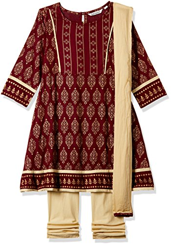 Karigari Girl's A-Line Regular Fit Cotton Salwar Suit Set (273734333 _Assorted_05Y)