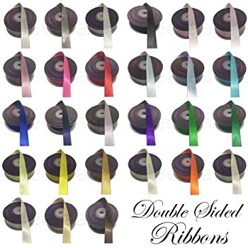 20//50m Double Sided Faced SATIN Quality Ribbon 3,7,9,15,25,38mm All Sizes Colors