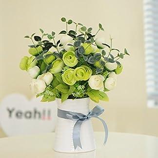XCZHJ Flores Decorativas Artificiales Camelia Maceta Artificial Planta Sala de Estar Mesa decoración Estilo rústico Verde Blanco Los Productos de Flores Incluyen:Flores Artificiales.