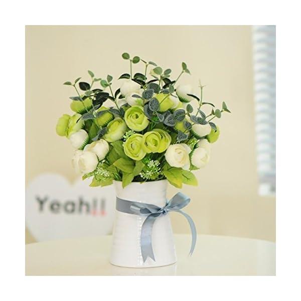 XCZHJ Flores Decorativas Artificiales Camelia Maceta Artificial Planta Sala de Estar Mesa decoración Estilo rústico…