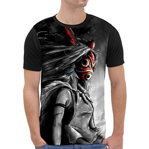 VOID Mononoke Mori T-Shirt Herren All-over Druck wolf prinzessin anime, Größe:XL