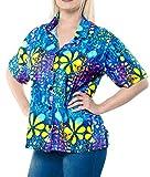 LA LEELA Robe vêtements de Plage Chemise Dames hawaïennes citernes Bouton Manches Courtes vers Le Bas Coverup Multiples XL