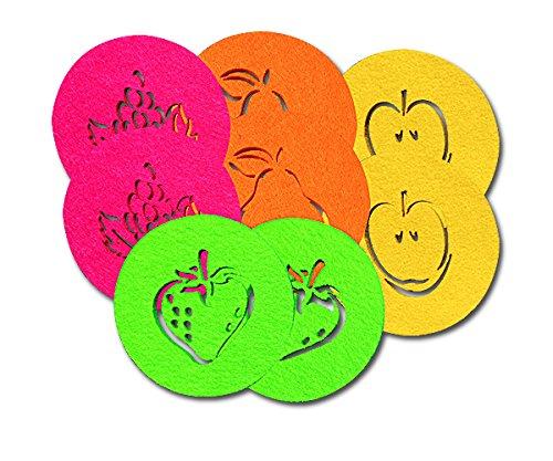 SUPMO Filzuntersetzer Glasuntersetzer rund in bunten Farben mit Obst Motiven (Farbe + Design wählbar), 5mm dick, elegant und auffallend – Untersetzer aus Filz für Getränke Gläser Schalen (8er, Mix)