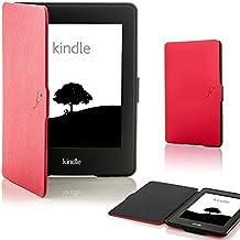 custodia Cover con chiusura magnetica avanguardia casi di funzione e pennino capacitivo per Amazon Kindle Paperwhite 2013 - rosso