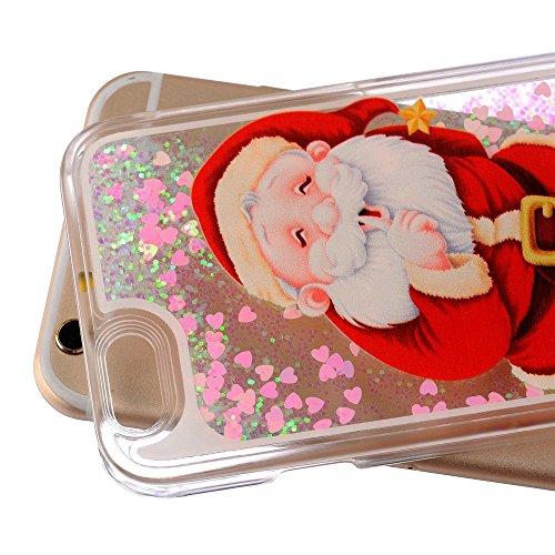iPhone 5C à paillettes Bling cas, iPhone 5C Étui en forme de cœur étoiles Quicksand, newstars Design Creative 3D Fluide flottant Sparkle Liquide en Plastique Transparent dos transparent coque rigide Santa Claus
