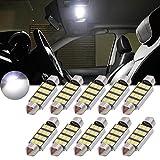 TUINCYN - Bombilla LED blanca 1,25 pulgadas (39 mm), CAN bus sin errores, SMD 8 2835 DE3175 DE3021 DE3022 6428 7065, para el interior del coche, puertas, techo, 12 V (10 unidades)