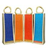 Jute Bottle Carry Bags 4 units by INDOZY