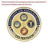 JIACUO Gold Überzogene Armee Navy Air Force Marines Gedenkmünzsammlung Physikalische -