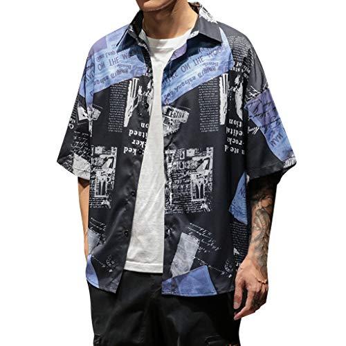Setsail Herren Freizeithemd Mode Retro Kurzarm Shirt Komfortabel bedrucktes Hemd - Ärmelloses Rollkragen Mock