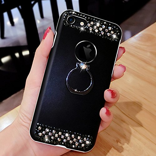Custodia iPhone 6S Plus, Cover iPhone 6 Plus, iPhone 6/6S Plus 5.5 Custodia Silicone, JAWSEU Moda Fiore Rosa Lusso Diamante Cristallo di Bling Custodia per iPhone 6S/6 Plus Protectiva Bumper Elegante  Metallo Nero