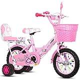 LLF Bicicleta Infantil Bicicleta Plegable Kid, Rosa Cisne Niñas Niños Niños En Bicicleta En Tamaño De 12' 14' 16' 18' con Estabilizadores Y Cesta (Color : Pink-b, Size : 12inch)