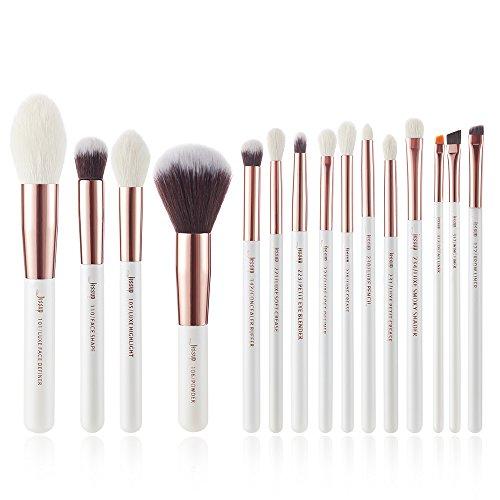 Jessup Lot de 15 pinceaux de maquillage professionnels, couleur perle blanche et rose doré, kit de maquillage pour fond de tient, poudre, définition et contours T222