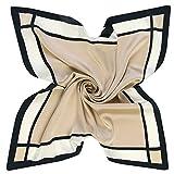 Damen Seidenschal Seidentuch Schal Tuch aus Seide Quadratisch 60 x 60 cm (Beige Grau)