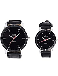 YOUTH CLUB SUPER HIS & HER COMBO ANALOG BLACK DIAL COUPLE WATCH-CPL-005BL