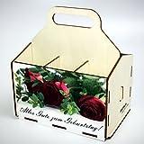 Bierträger aus Holz - SixPack - Geburtstag - Geschenke-Männer-Frauen - Grillen (Alles Gute zum Geburtstag mit Rose)