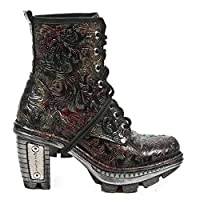 New Rock Newrock NEOTR008-S13 Vintage Flower Red Gothic Rock Punk Ladies Boots