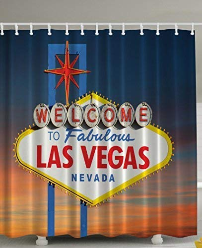 Welcome to Fabulous Las Vegas Nevada Sign Picture Traveler Urban Road Decor Design Art Print Fabric Shower Curtain - Machine Washable Navy Blue Red Yellow Orange White Fabulous Sheer