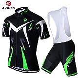 X-TIGER da Ciclismo Maglietta Manica Corta da Uomo + 5D Gel Pantaloncini Corti Imbottiti con Pettorina Set di Abbigliamento Ciclista