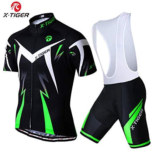 X-TIGER Ciclismo Maillots para Hombres con Tirantes Manga Corta Transpirable Secado Rápido con 5D Acolchado Gel Culotes Culotte Pantalones Cortos (Verde,L)