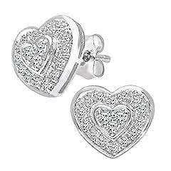 Idea Regalo - Naava Orecchini a Perno da Donna, Oro Bianco, Diamante