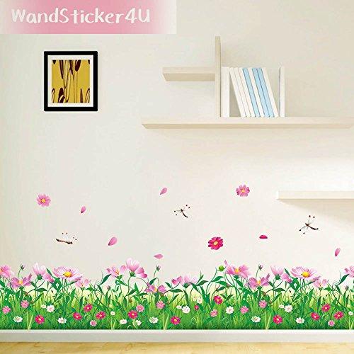 WandSticker4U- Wandtattoo 'Blumenwiese mit Libellen in 2er Set' | Breite: 228cm | Aufkleber Kamille Gras Wandsticker Blumen Wiese |...