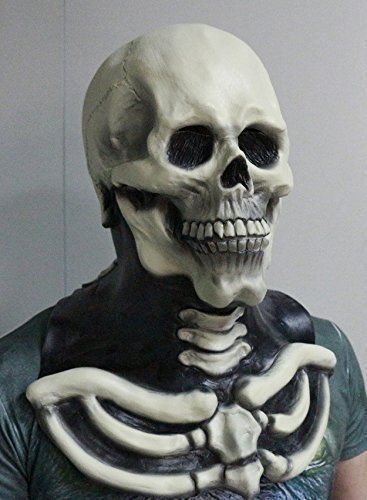 The rubber plantation tm 619219304443horror spaventoso zombie per tutta la testa e il petto in lattice travestimento scheletro maschera di halloween, unisex, taglia unica