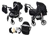 Baby Sportive - Passeggino combinato 2 in 1, con navicella, ruote piroettanti a 360° e accessori, colore: nero a pois bianchi