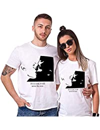 Sai Shree Couple Nightwear T Shirt | Concupiscence T Shirt for Loved Ones |Fondness | Free Size White