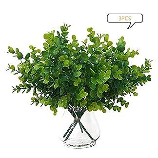 love planet 3 x Plantas de plástico Artificial Eucalyptus Grass Plantas Artificiales realistas Vegetales Eucalipto Resistente a los Rayos UV Plantas falsas7 Ramas- Hoja de,para Bodas en el hogar