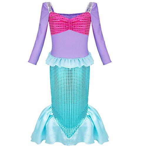 iEFiEL Kinder Kostüm für Mädchen Meerjungfrau Kostüm Prinzessin Kleid Meerjungfraukostüm Fasching Karneval Blau 122-128