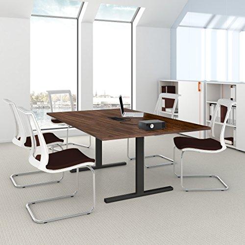 EASY Konferenztisch 200x120cm Nussbaum mit Elektrifizierung Besprechungs-Tisch