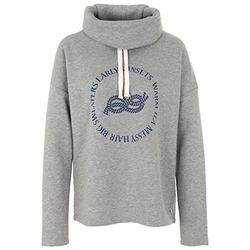 Deik&Dunes Sylka - Sweater mit Kragen und Print in grau meliert, Größe M