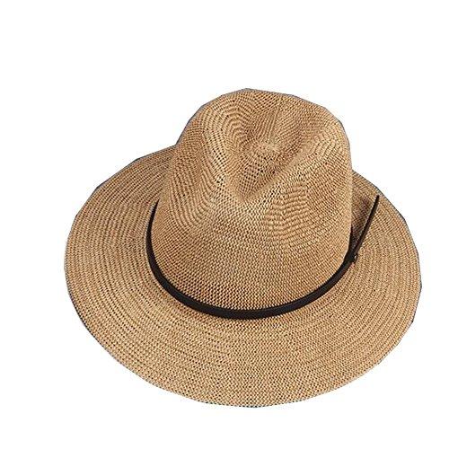 Surker Femmes Mode Straw Sun Hat Cap Beach Sun Visor Kaki