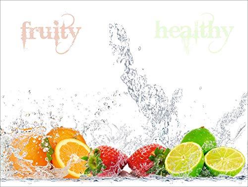 Artland Design Spritzschutz Küche I Alu Küchenrückwand Herd BxH: 80x60 cm sehr schnelle und einfache Montage Fruchtig - erfrischend - gesund - Zitronen Kirschen Erdbeeren Limetten