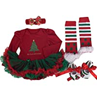 Amlaiworld 4Pcs Natale Pagliaccetto Tutu Dress Set - Abito Di Natale