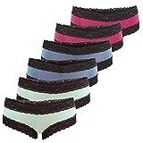 Fabio Farini 6er-Pack Damen Panties Hipster mit eleganten Spitzen-Details, in Verschiedenen Farb-Sets, Set 28, Größe: 40/42