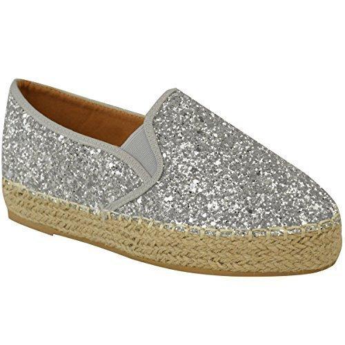 Femmes Dames Plat Espadrilles Semelle Légèrement Compensée À Enfiler Paillette Semelle Compensée Chaussures Pointure Argenté A Paillettes