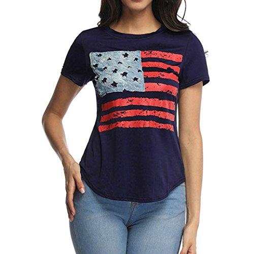 T-Shirt Damen Flag Printed Top Kurzarm Rundhalsausschnitt Lässige Bluse Shirt - Supernatural-socken