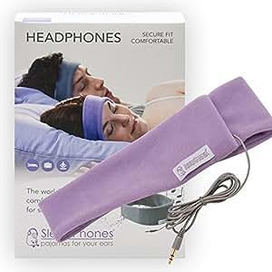 AcousticSheep SP4LM SleepPhones weiches Fleece-Stirnbund mit integrierten Kopfhörer (3,5mm Klinkenstecker) für Smartphone und Tablet M (55-59 cm) lavendel