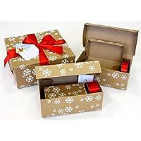 Emballage cadeau comme alternative au papier cadeau-en carton ondulé avec 5différents grandes boîtes cadeau, ruban cadeau rouge satiné et carte de vœux (12pièces)