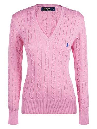Ralph Lauren Damen V-Neck Pullover Zopfmuster Pink (M) (Lauren Pferd Ralph)