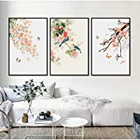 ASDZXC Flower Butterfly 3 Pieces Decorative Modular Painting Wall Art Picture Canvas Painting For Living Room No Frame