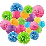 Libershine 21 Lanterne di Carta Cinesi, 12 Lanterne di Carta e 9 Pompon Artigianali, Decorazioni da Appendere per Feste di Anniversario, Compleanno, Multicolore (Colour)