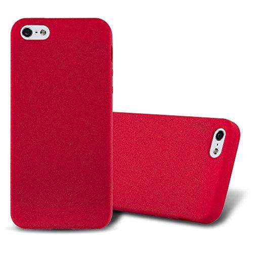 Cadorabo Custodia per Apple iPhone 5 / iPhone 5S / iPhone SE in Frost Rosso – Morbida Cover Protettiva Sottile di Silicone TPU con Bordo Protezione – Ultra Slim Case Antiurto Gel Back Bumper Guscio